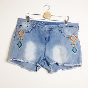 Lovesick embroidered denim jean shorts